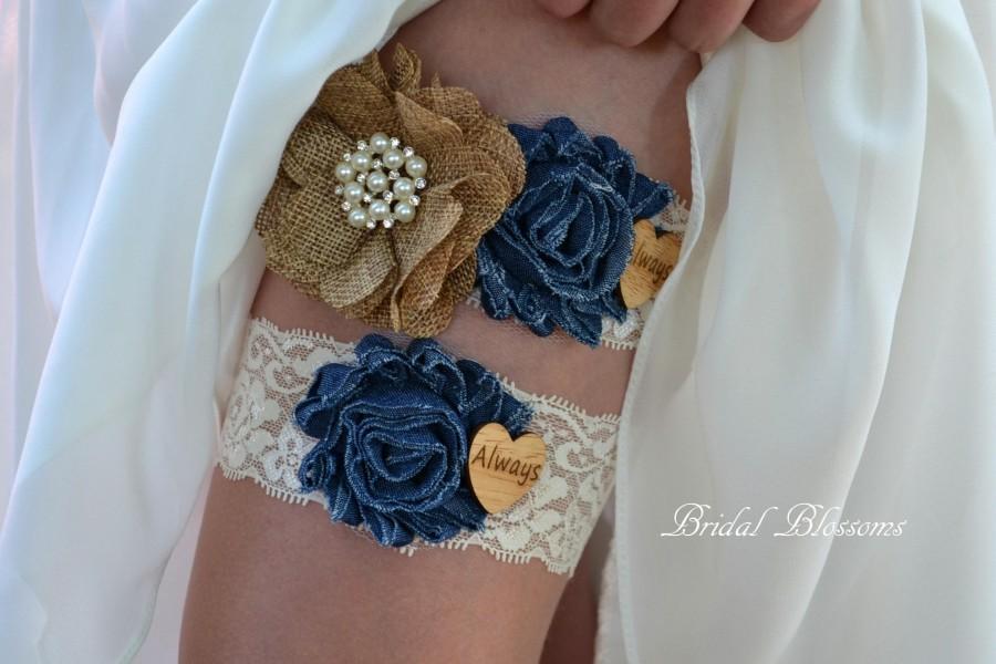 Wedding - Something Blue Denim Burlap Ivory Bridal Garter Set