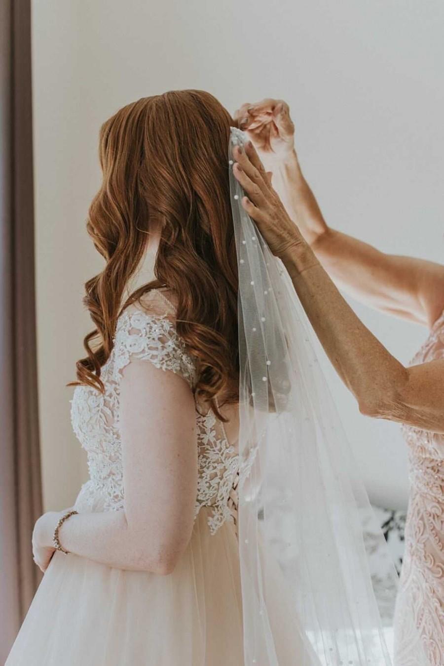 Mariage - Wedding veil with pearls, veil, veils, long veil, fingertip veil, beaded veil, pearl veil, champagne veil, ivory veil,  wedding, white veil