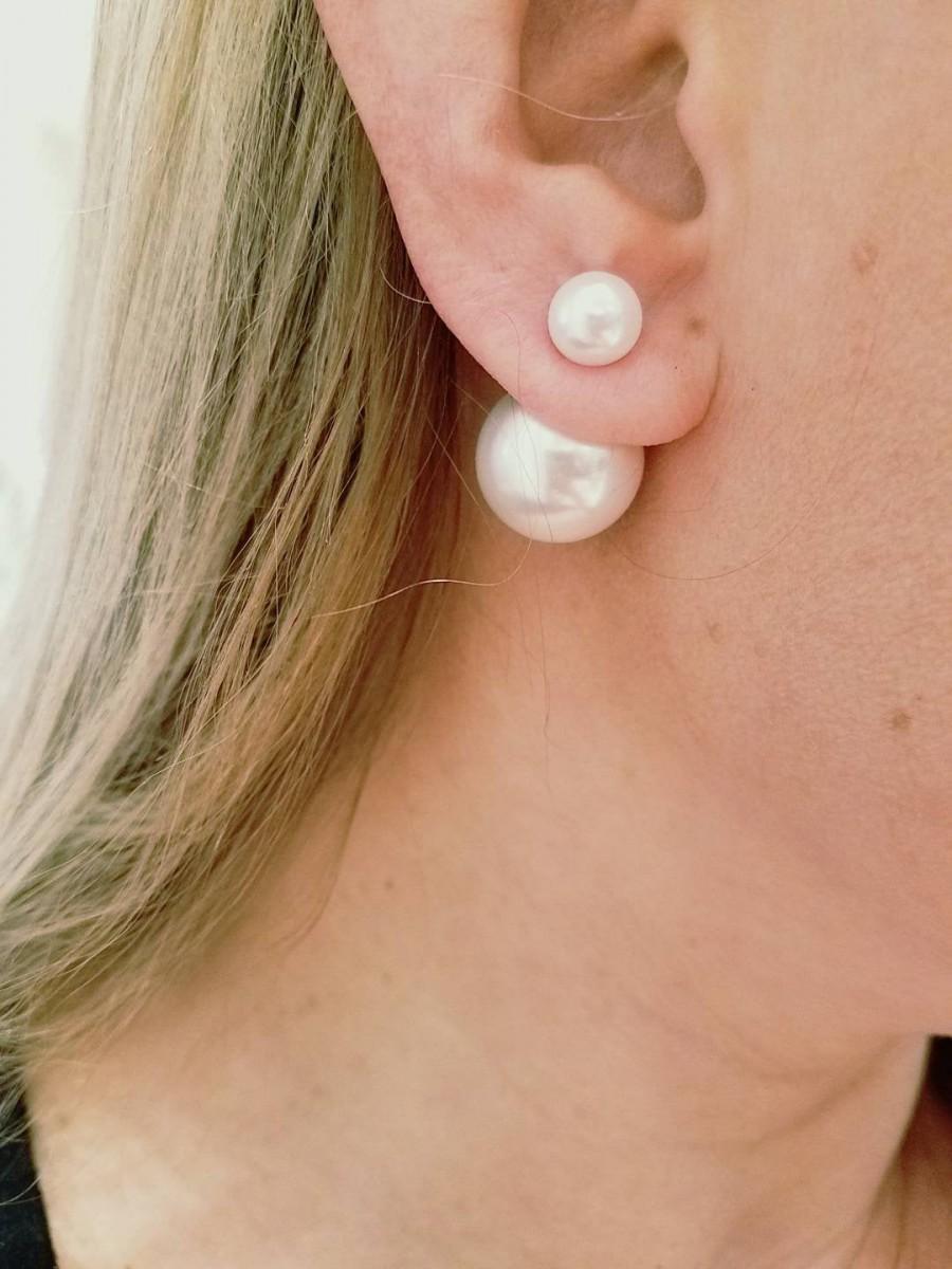 زفاف - DOUBLE SIDED PEARL earrings Stud Bridesmaids Gift for Her Post Double bead ball earrings bridal jewelry Pearl Studs Gift ideas