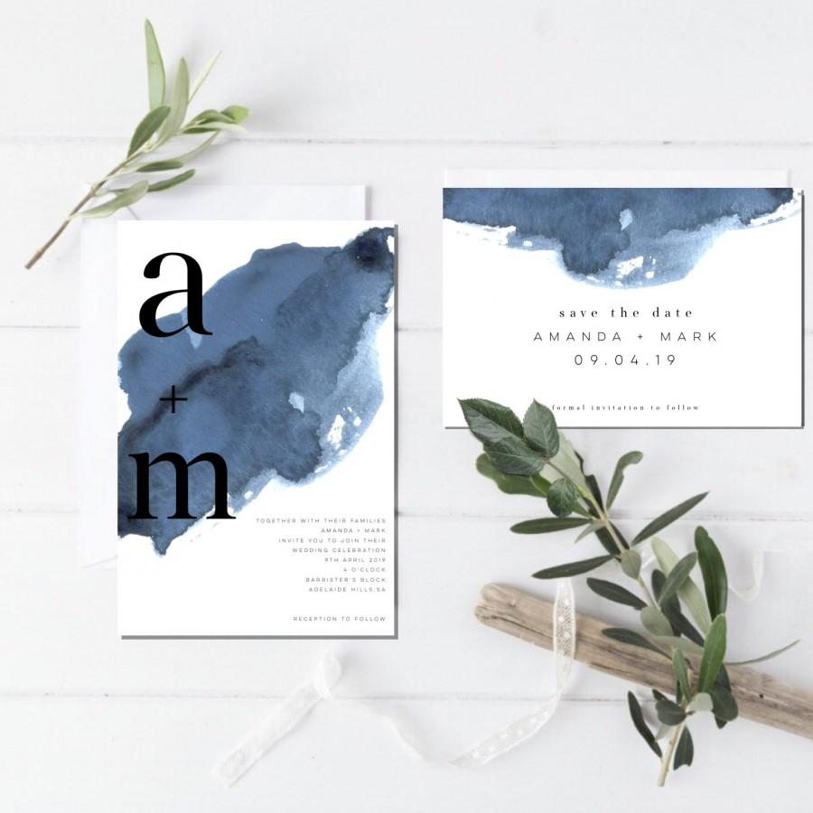 Mariage - Modern Wedding Invitation-Wedding Invitation set-Wedding invitations-Invitation-Wedding invite-minimalist Wedding-Invitations-watercolor