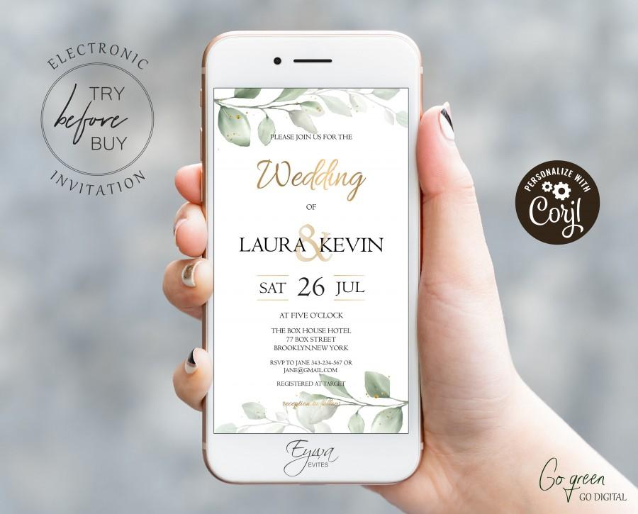 Wedding - Greenery Wedding Evite Template Gold Electronic Wedding Invitation Template Text Invitation Smartphone Invite Digital Invite E8