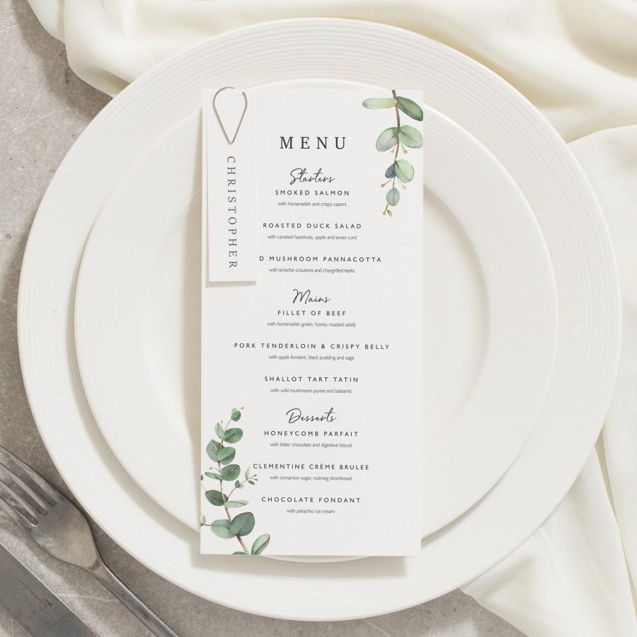 Wedding - Wedding Menu Cards, Dinner Menu Cards, Menu Card With Place Card, Floral Menu, Eucalyptus, Greenery Wedding 'Aisyah'
