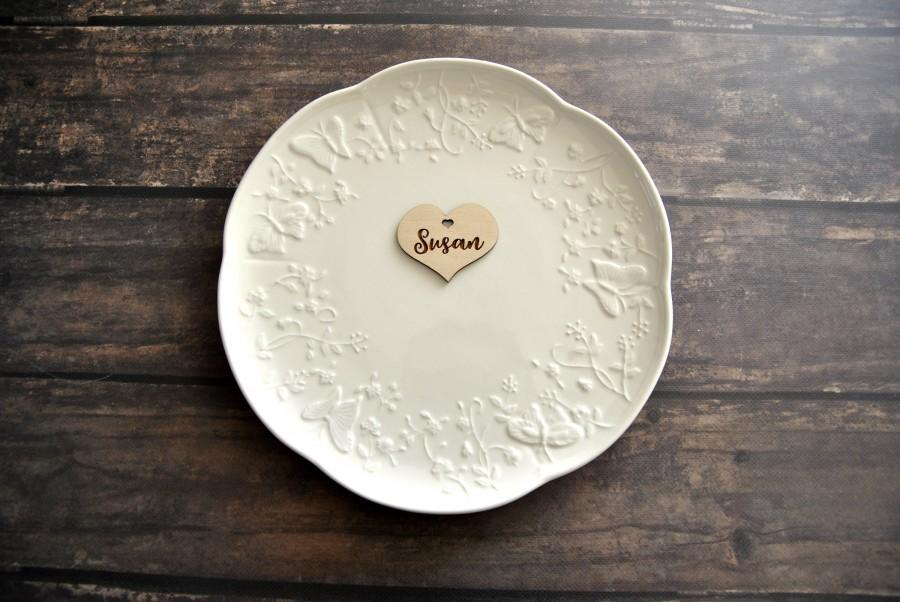 Wedding - Heart Custom Wood Laser cut guest names Place setting Personalized wood signs Table wedding plate name place cards Calligraphy tags gift