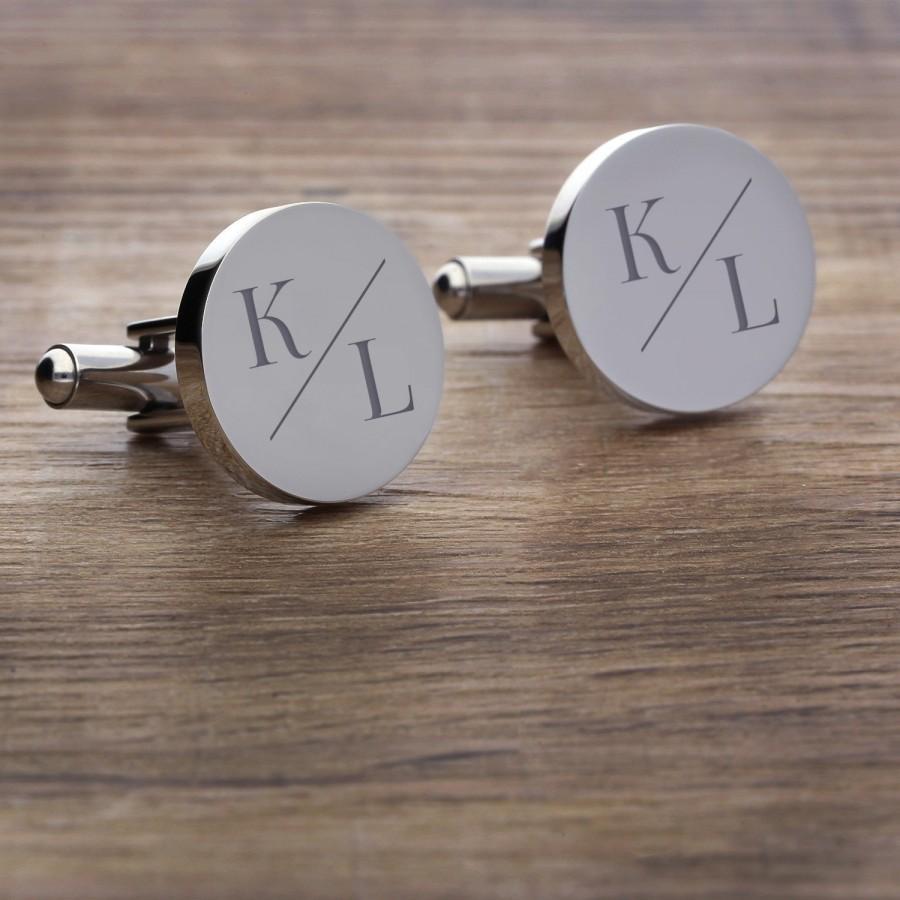 زفاف - 2 cufflinks round with engraving of The Italian motif 01 for the wedding
