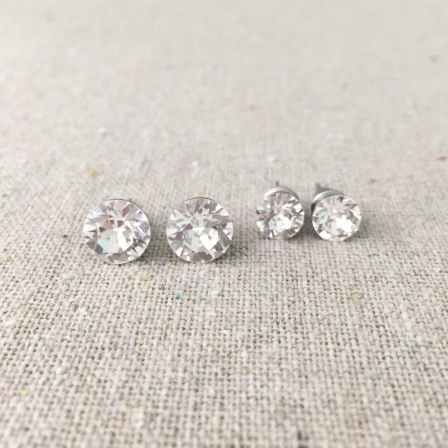 Mariage - Swarovski Crystal Stud Set, Surgical Steel Post Earrings, Faux Diamond Rhinestone Earrings, Simple Everyday Earrings, Bridesmaids Ask Gifts