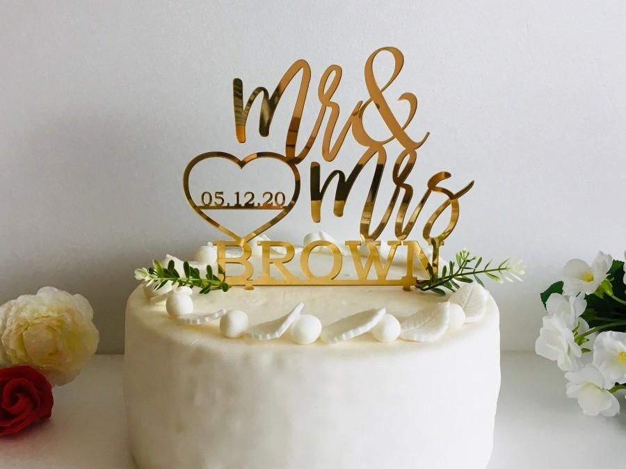 Wedding - Personalized Wedding Cake Topper with Heart Save the Date Mr and Mrs Last Name Calligraphy Bride Groom Custom Table Centerpiece Wood Acrylic