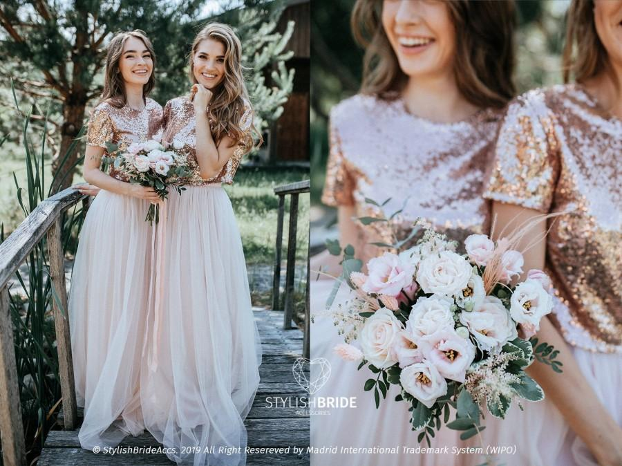 """Wedding - Rose Gold Sequin Tulle Bridesmaid Separates, Biscuit Blush Waterfall Bridesmaids Tulle Skirts with """"Confetti"""" Rose Gold Sequin Top Plus Size"""