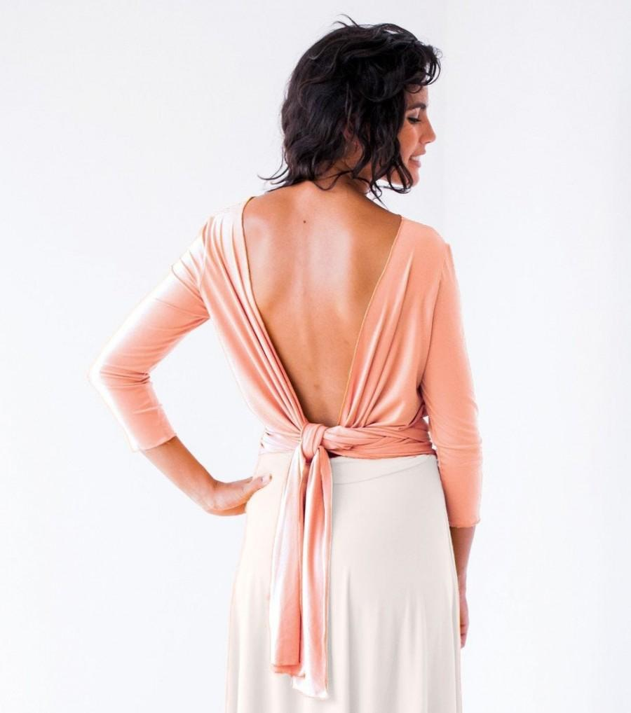 Wedding - Self tie blouse, Bridemaids bolero, Peach top with sleeves, Sleeved formal top, Salmon top, Blush pink wrap top, Tangerine top open back