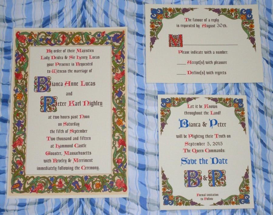 Wedding - Renaissance Invitation, Medieval Invitation, Royal Wedding, Tudor, Borgia, Fantasy Wedding Invitation Suite Sample