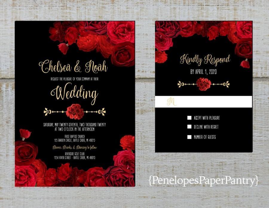 Wedding - Elegant Black Floral Wedding Invitation,Red Roses,Gold Print,Shimmery,Custom,Printed Invitation,Wedding Set,Optional RSVP Card