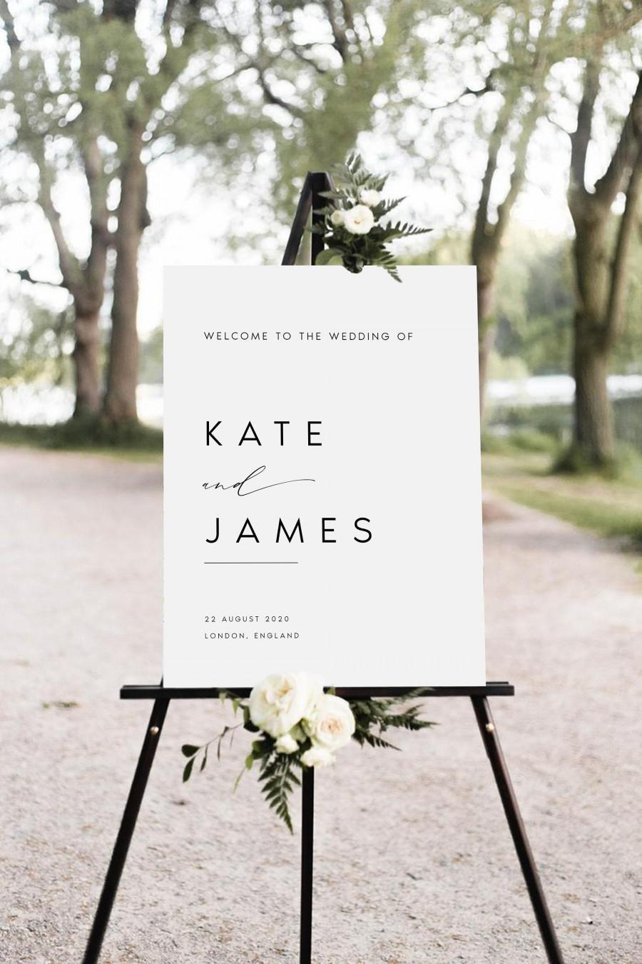 Wedding - Minimalist Wedding Welcome Sign, Welcome Wedding Sign, Script Wedding Welcome Sign, Modern Wedding Signs, Large Wedding Sign, #KATE