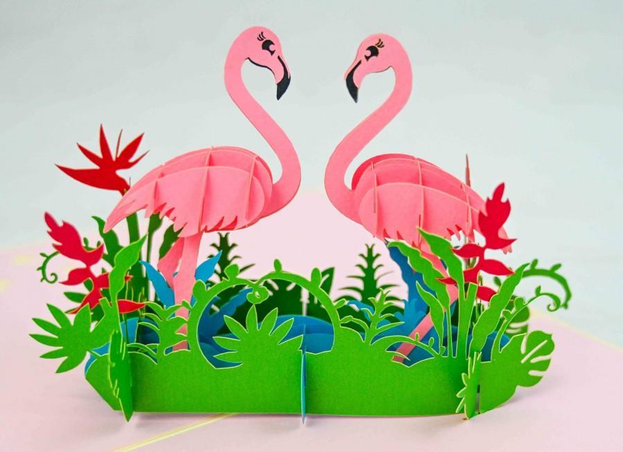 Wedding - Flamingo Pop Up Greeting Card