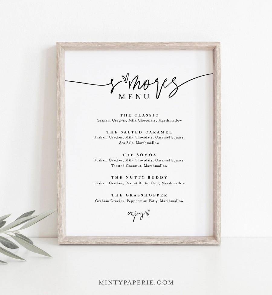 Wedding - S'mores Menu, Printable Smores Bar Sign, Minimalist Wedding S'mores Station, 100% Editable Template, Instant Download, Templett  #0009-31S