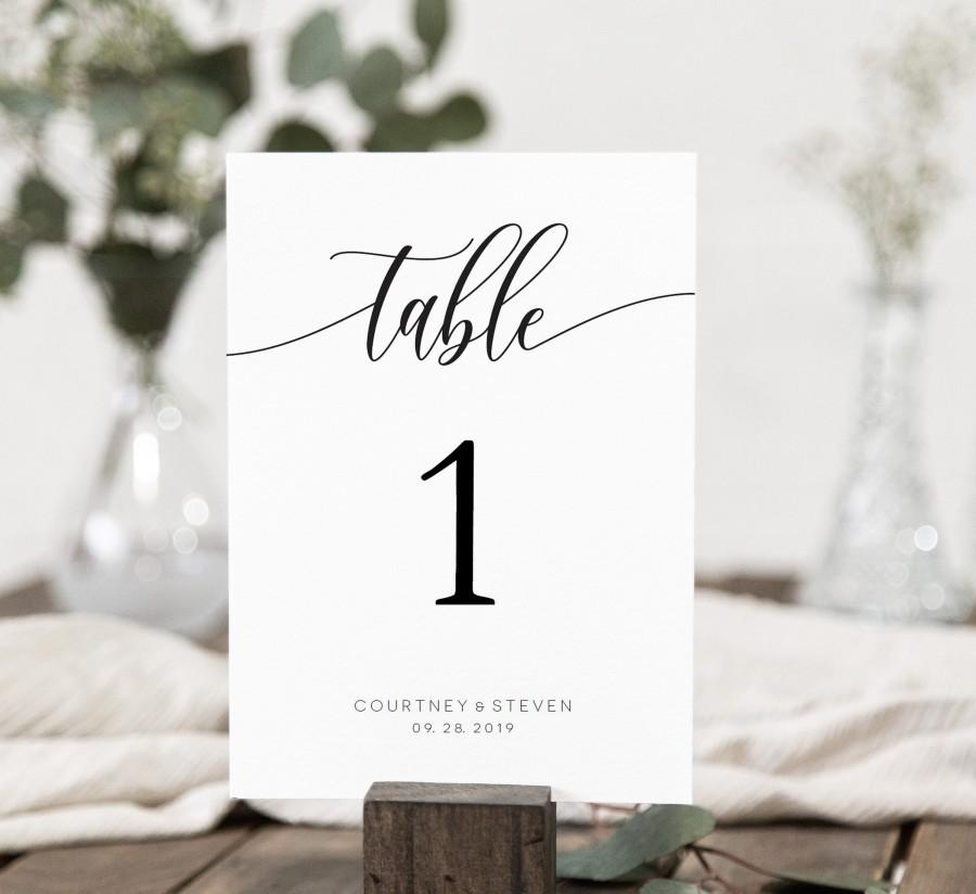 Wedding - Wedding Table Numbers Printable, Table Numbers Template, Calligraphy Table Numbers, 5x7, 4x6, Edit with TEMPLETT, WLP-SOU 690