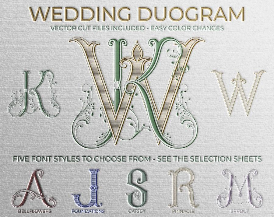 Wedding - 2 Letter Monogram, Made to Order with Pre-Designed Fonts, Custom Wedding Monogram, Monogram SVG, Vector Cut file