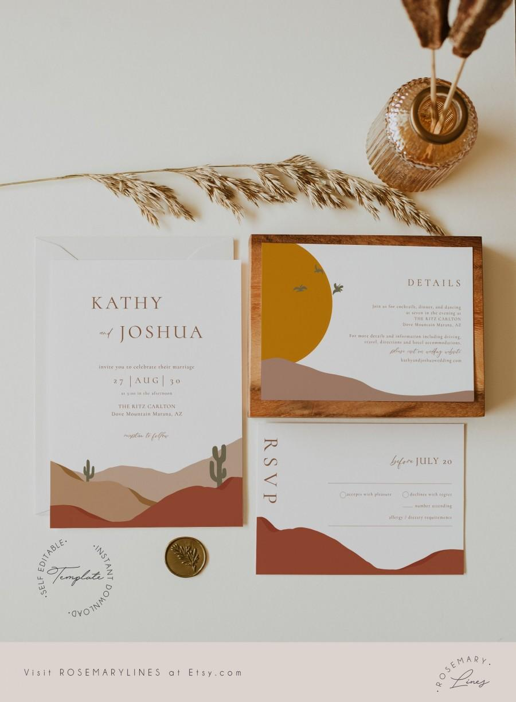 Wedding - Modern desert wedding invitation template, mountain wedding invitation set, abstract bohemian terracotta invites, cactus, earth tones #097-5