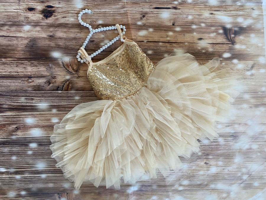 Wedding - Gold sequin  dress , Christmas dress ,gold dress , flower girl dress,tulle tutu dress, Baby toddler dress,