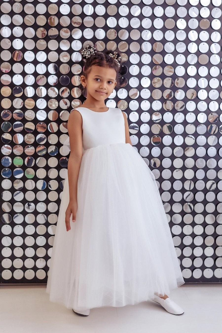 Wedding - Flower Girl Dress, Flower Girl Dresses, Ivory Flower Girl Dress, Sparkly Flower Girl Dress, White Baby Dress, Wedding Dress for Girls, Dress