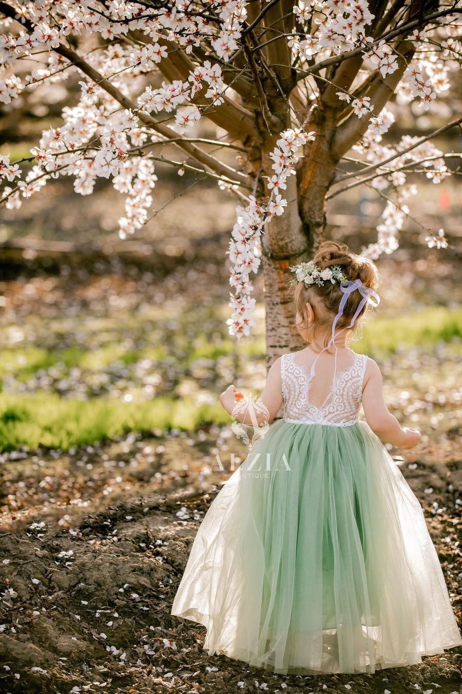 Wedding - Full Length Sage Green Tulle Sleeveless Lace Top Scalloped Edges Back Party Flower Girl Dress