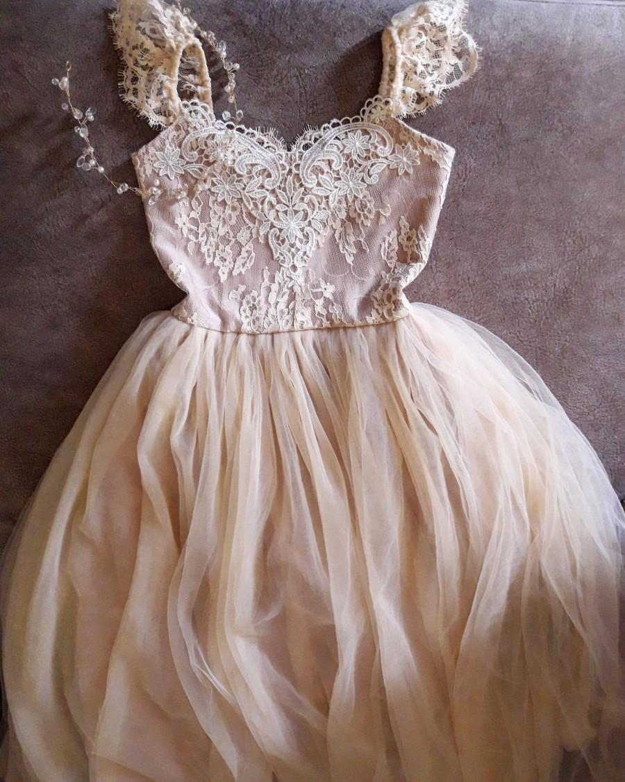 Wedding - Gold Champagne Flower Girl Dress Dresses Girls 1st Birthday Outfit Tulle Tutu Baby Infant Toddler Photoshoot Baby Shower Gown Newborn