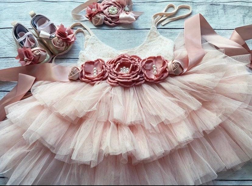 Wedding - Blush Flower girl dress, birthday party dress, ,Baby toddler dress, tulle tutu flower girl dress, mauve flower sash dress