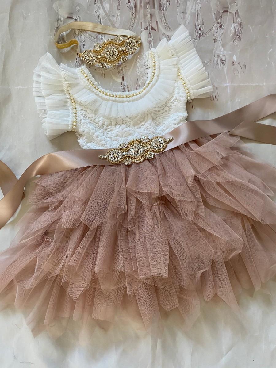 Wedding - Flower girl dress,  white Lace top, tan skirt Baby  toddler dress,tulle tutu flower girl dress, holiday dress