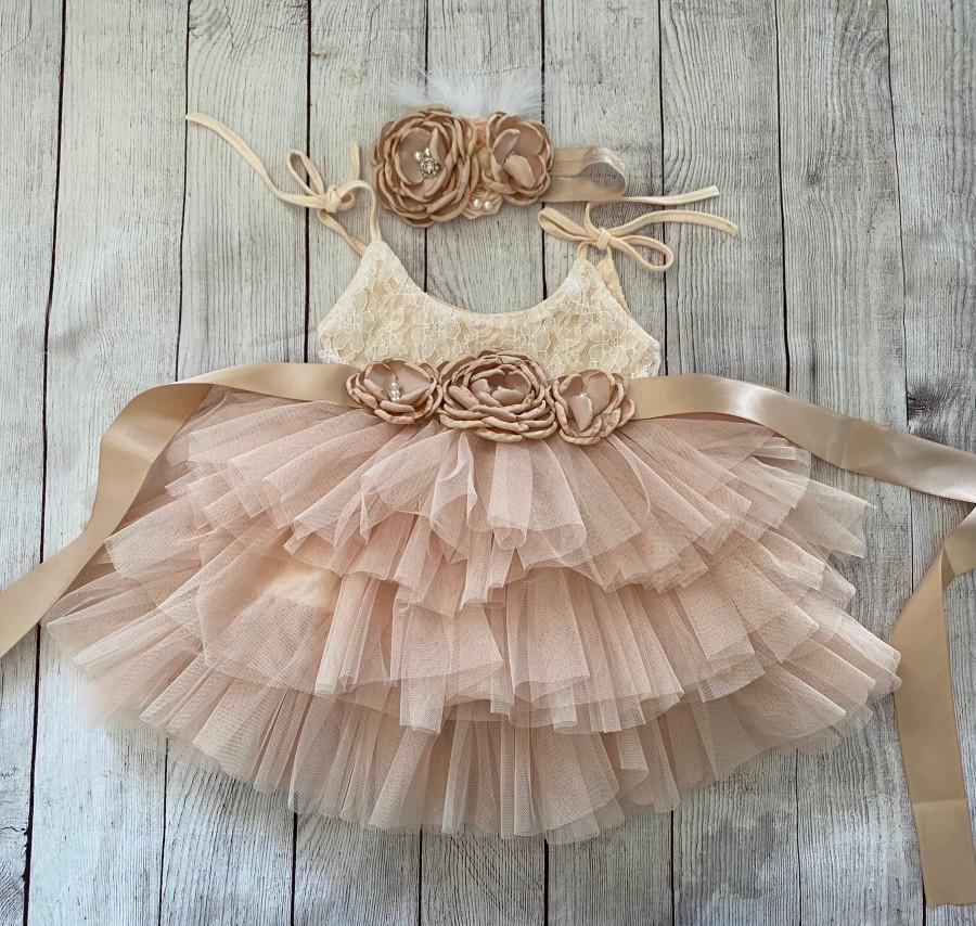 Wedding - Champagne Flower girl dress, 1ers birthday dress, Lace top,Baby  toddler dress,tulle tutu flower girl dress, holiday dress
