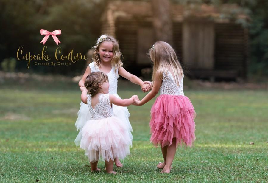 Wedding - Flower girl dress, lace flower girl dress, boho flower girl dress, baby toddler lace dress