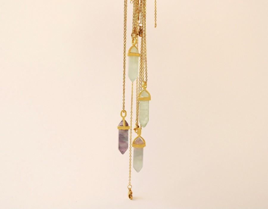Wedding - Raw fluorite pendant, Natural green kyanite necklace gold, Rainbow fluorite necklace gold, Long genuine chakra necklace