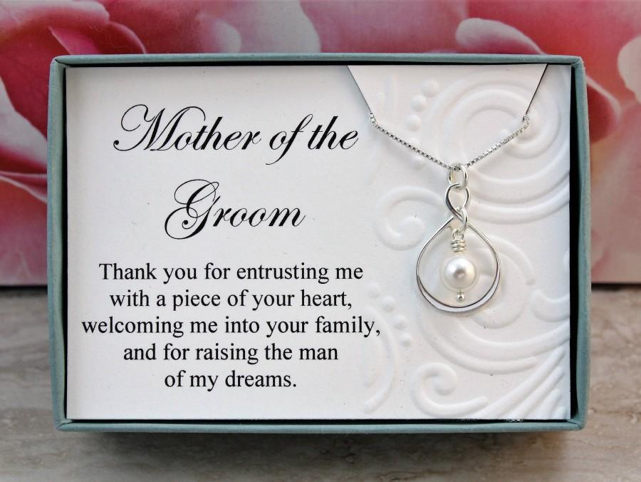Wedding - Mother of the Groom necklace gift from Bride  Sterling silver infinity necklace Swarovski crystal pearl Thank you gift for groom's mother