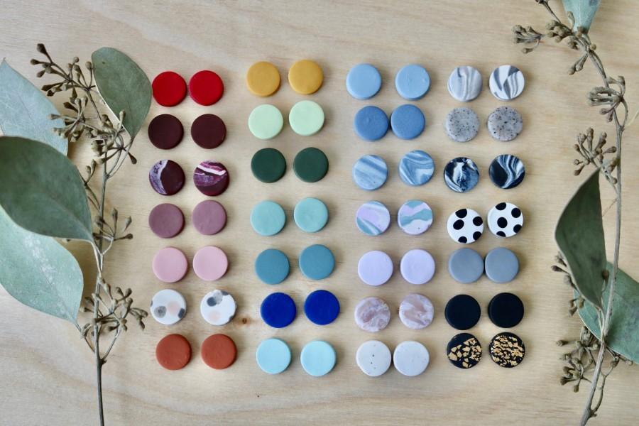 Wedding - Custom Studs: Set of 3 Polymer Clay Earrings