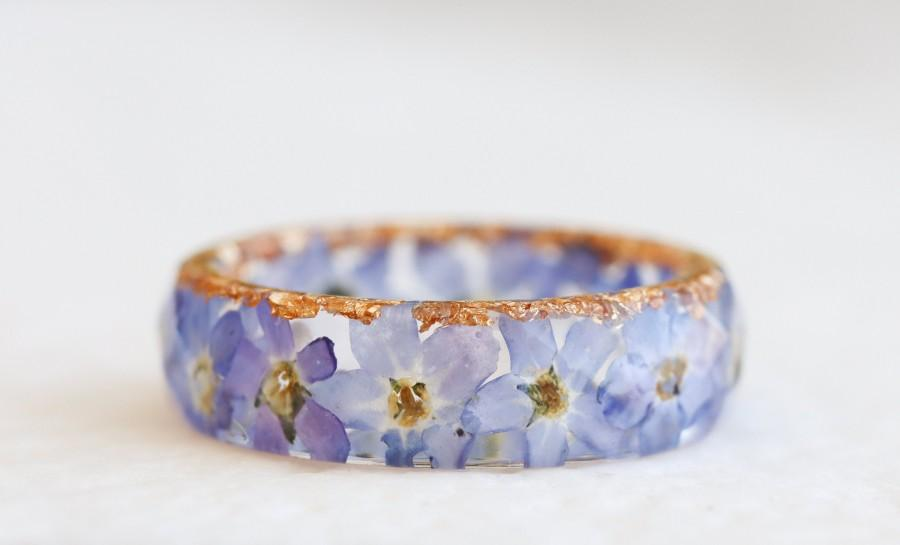 Wedding - Forget-Me-Not Ring - Floral Band With Light Blue Flowers and Gold/Silver/Copper Flakes - Resin Jewelry - Faceted Ring with Tiny Flowers