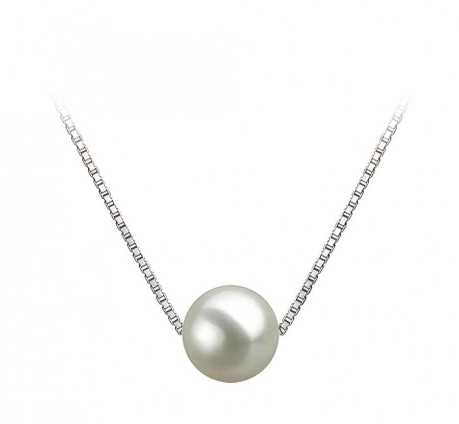 "Wedding - 7-11.5mm AAAA White Freshwater Pearl Pendant Necklace 16""/18"" Silver Chain Freshwater Necklace Pendant Floating White Pearl Pendant"