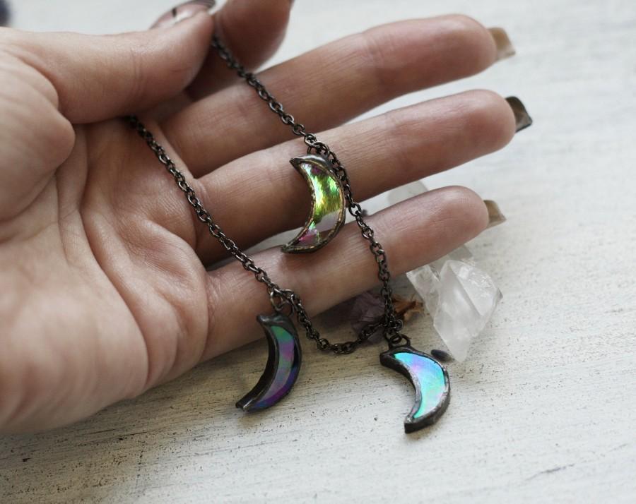 Wedding - Holographic jewelry, opal jewelry, Rave Hippie Boho jewelry, rainbow jewelry, crescent moon jewelry, opal moon necklace, opal necklace