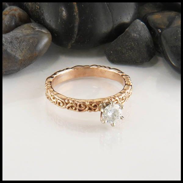Wedding - Moissanite Celtic Trinity Scroll Ring, Rose Gold Moissanite Engagement Ring, Celtic Engagement Ring, Moissanite Solitaire
