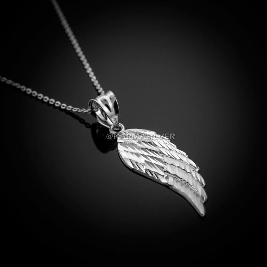 Wedding - Sterling Silver Angel Wing Charm Necklace