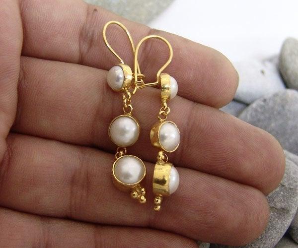 Wedding - Freshwater Pearl Earrings  925K Sterling Silver  Elegant Earrings Authentic Silver  Roman Art  Stud Pearl Earrings Pearl silver Stud Earring