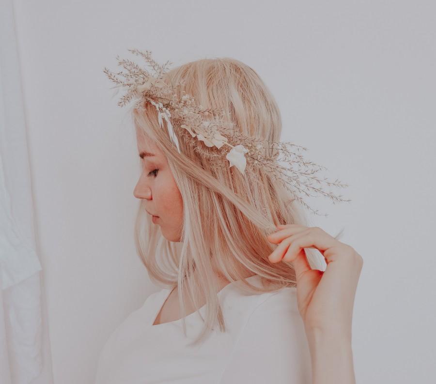 Wedding - The Pampas and Prairie Crown / Pampas Grass Dried Grasses Crown / Dried Flower Crown / Boho Bridal Crown