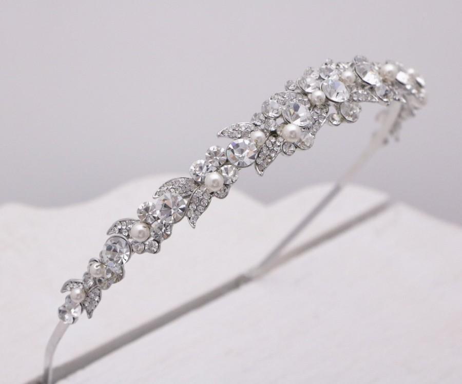 Wedding - bridal headband swarovski pearl wedding headband crystal wedding tiara crown bridal hair accessories boho Rhinestone headband Prom headband