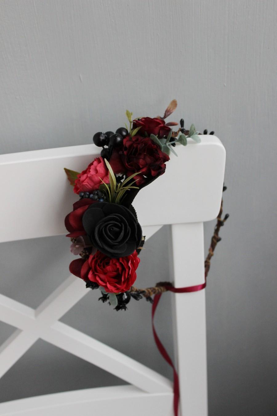 Wedding - Gothic wedding flower crown, Wedding flower crown, Burgundy crown