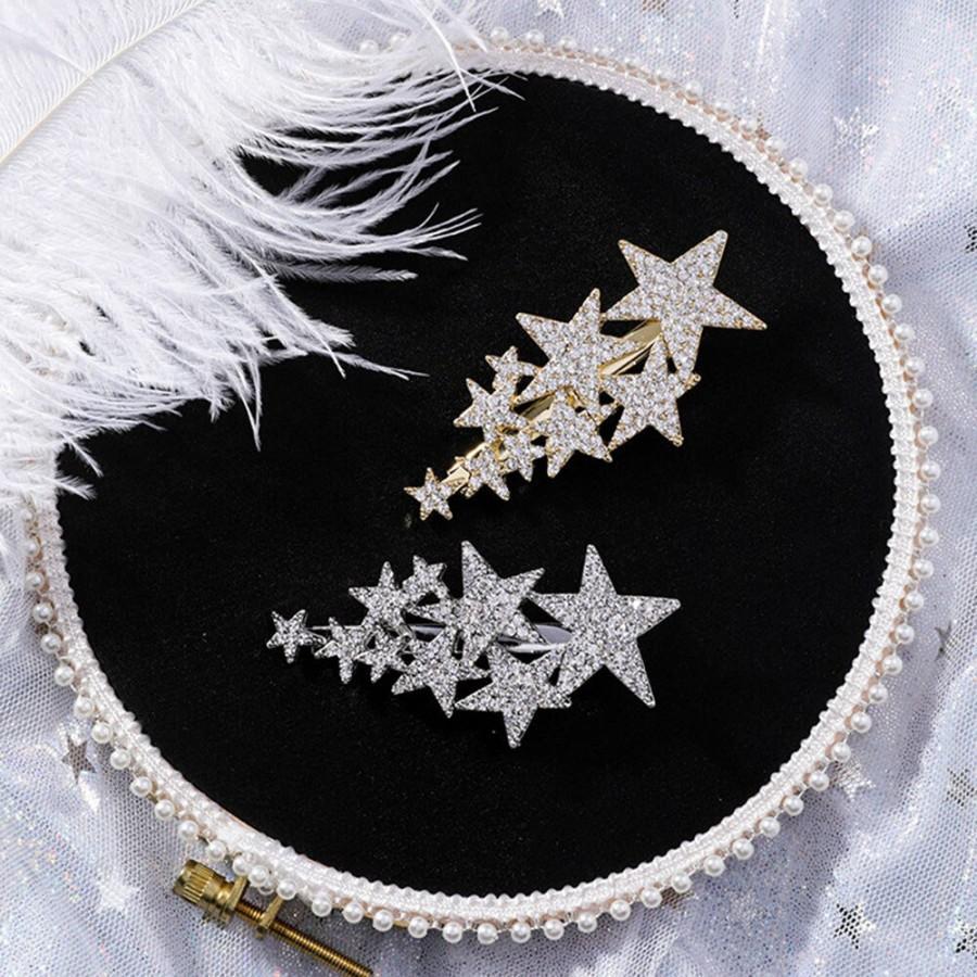 Wedding - Rhinestone Star Barrette - Crystal Star Barrette - Star Rhinestone Hair Clip - Star Crystal Hair Pin - Star Crystal Hair Clip - Star Crystal