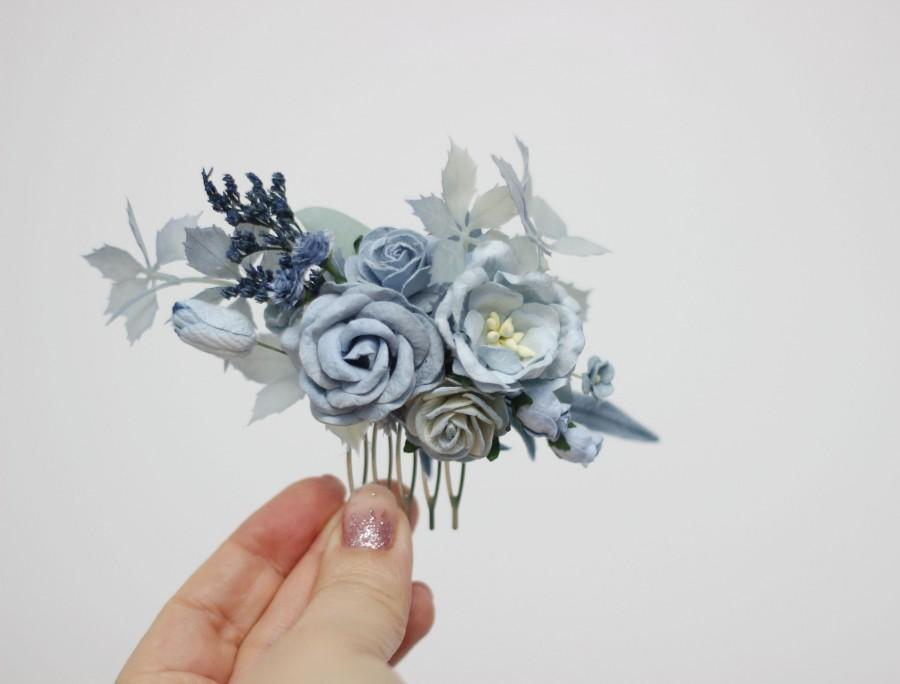 Wedding - Dusty blue white hair comb Flower hairpiece  Floral headpiece Bridal flowers Flower accessories Bridesmaid comb Pale blue wedding