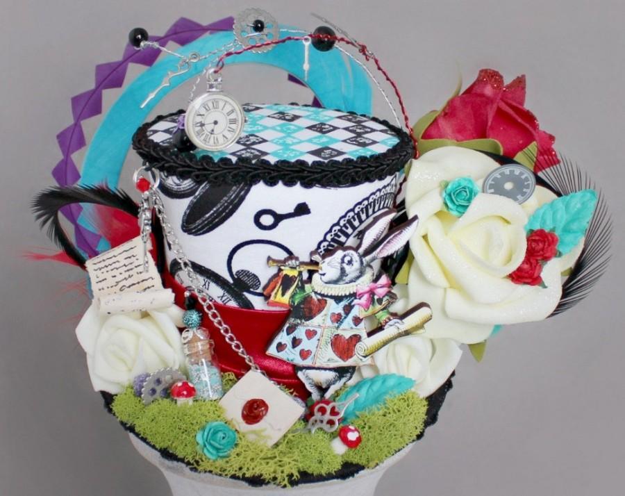 Wedding - Alice in Wonderland , White Rabbit Mini Top Hat , White Rabbit Landscape Mini Hat , Alice in Wonderland Hat , Unbirthday Hat , Tea Party Hat