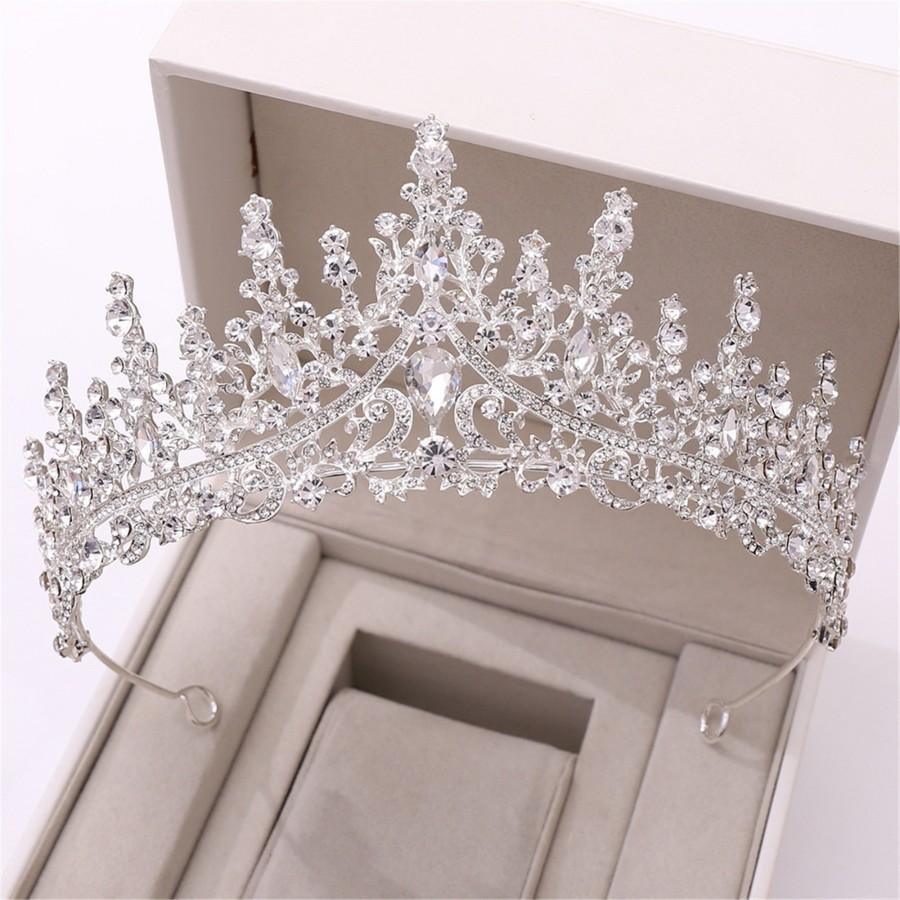 Wedding - Fashion Silver Wedding Tiara//White Crystal Bridal Crown//Elegant Girls Birthday Party Crown//Silver Photoshoot Crown//Wedding Decor
