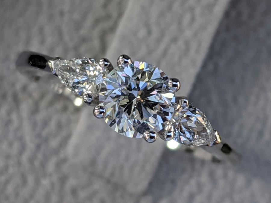 Wedding - 1 Carat Engagement Ring, 3 Stone Diamond Ring, Round and Pear Diamonds Ring, Legacy Engagement Ring, Classic Diamond Engagement Ring