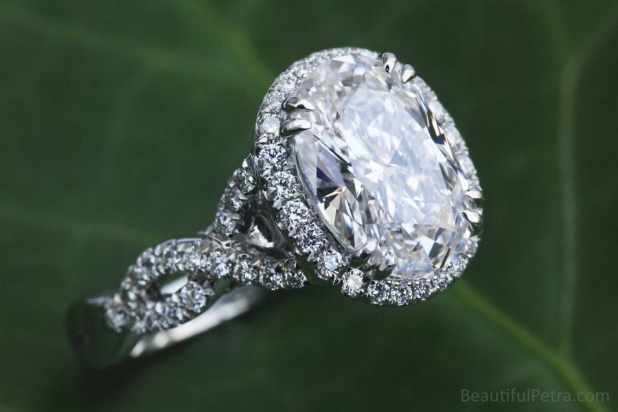 Wedding - FANCY - BeautifulPetra.com - GIA Certified - Oval Halo Diamond Engagement Ring - Platinum - Luxury - Bph034