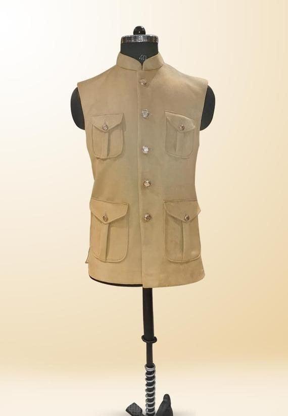 Wedding - Stylish Ethnic Jodhpuri Style Bandhgala Suiting Fabric hunting waist coat for men.