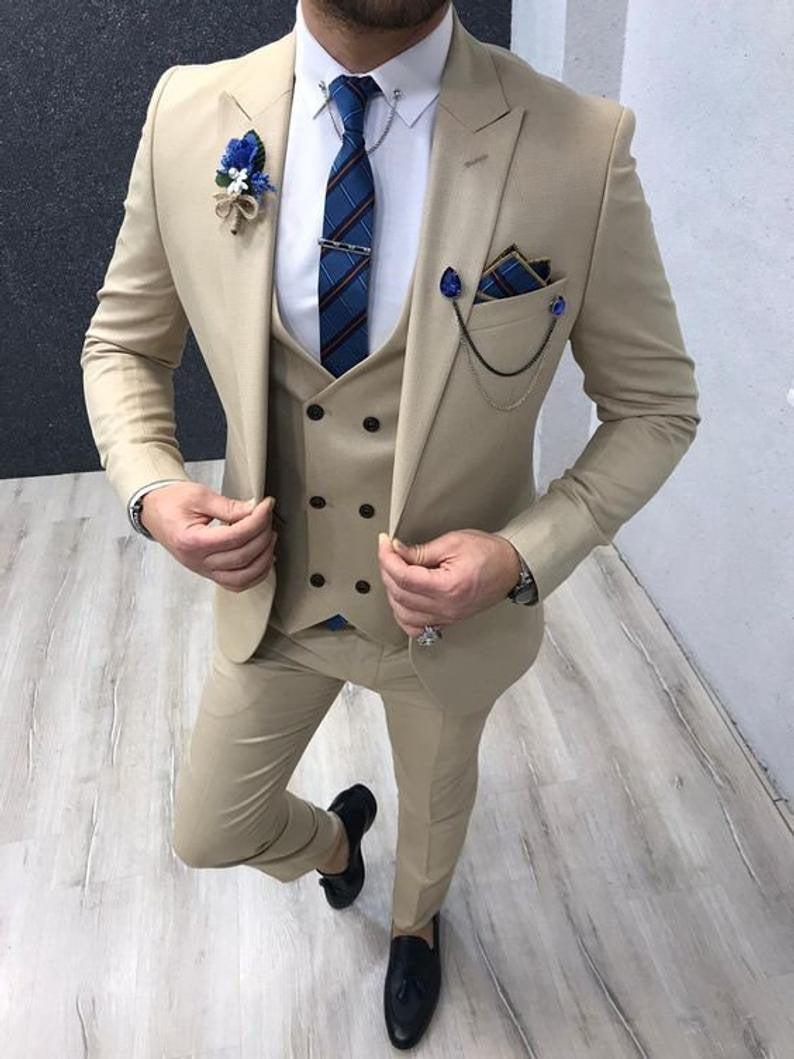 Wedding - Men Suit 3 Piece Ivory Elegant Designer Slim Fit One Button Wedding Party Wear Groom Suits