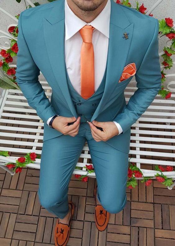 Wedding - Men Suits, Luxury Designer Sky Blue Suits, 3 Piece Suits Wedding Groom Wear Suits For Men