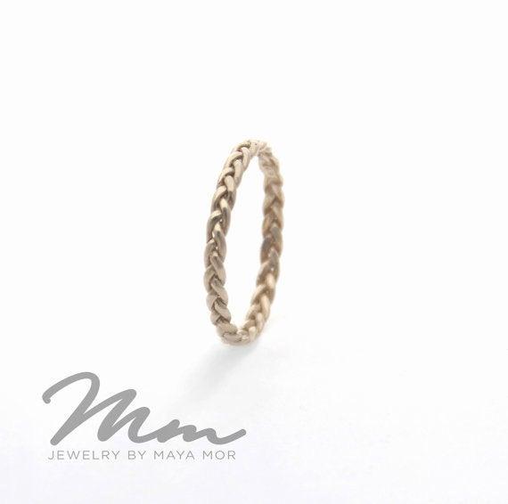 Wedding - Gold Celtic Knot Ring, Celtic Wedding Band, White Gold Wedding Ring, Solid Gold Band Ring, Thin Wedding Band, Dainty Gold Ring For Women